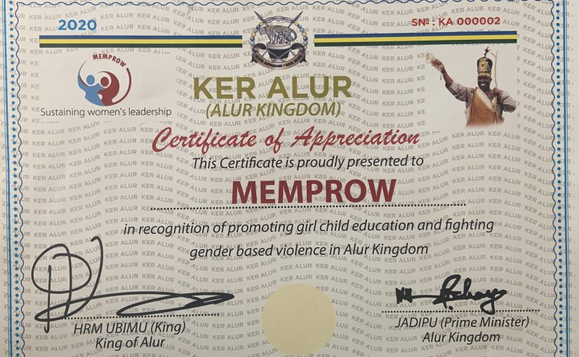 KER ALUR Awards MEMPROW For Promoting Girl Child Education